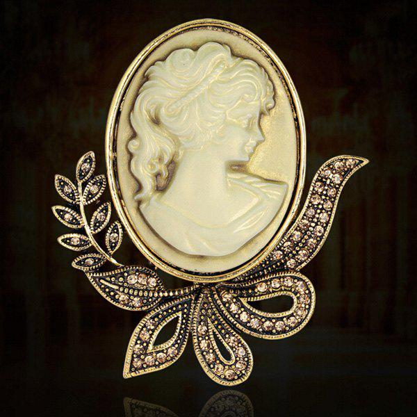Leaf Embossed Figure Brooch - GOLDEN