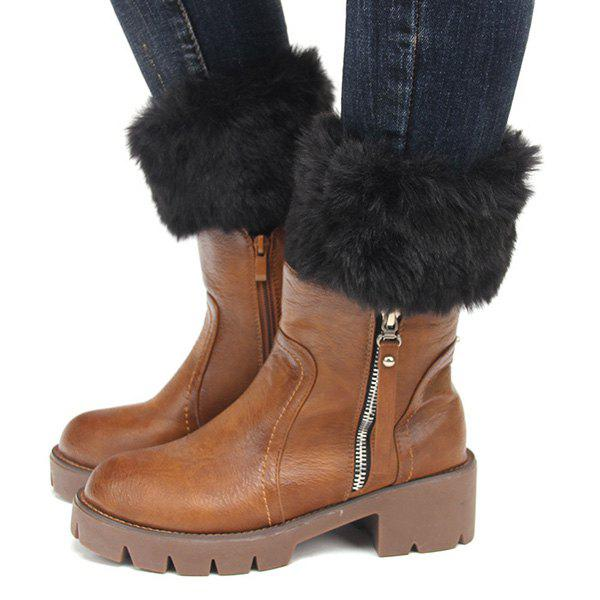 Pair of Winter Faux Fur Edge Knitted Boot Cuffs - BLACK