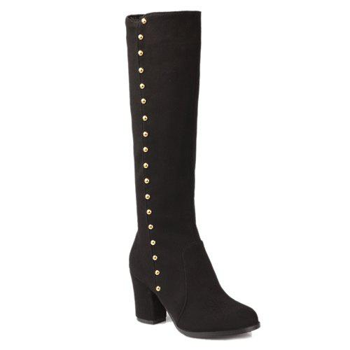 Stylish Rivet and Chunky Heel Design Women's Mid-Calf Boots - BLACK 40