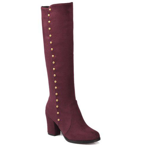 Stylish Rivet and Chunky Heel Design Women's Mid-Calf Boots - WINE RED 38