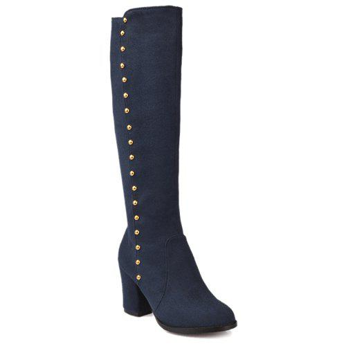 Stylish Rivet and Chunky Heel Design Women's Mid-Calf Boots - BLUE 37