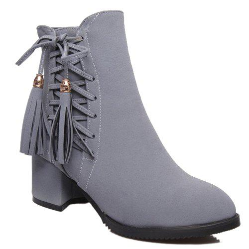 Trendy Criss-Cross and Tassels Design Women's Short Boots - GRAY 39
