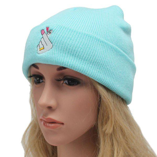 Winter Outdoor Warm Love Hand Gesture Embroidery Flanging Knitted Beanie - LIGHT BLUE