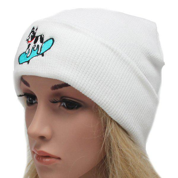Winter Outdoor Warm Skateboard Dog Embroidery Flanging Knitted Beanie - WHITE