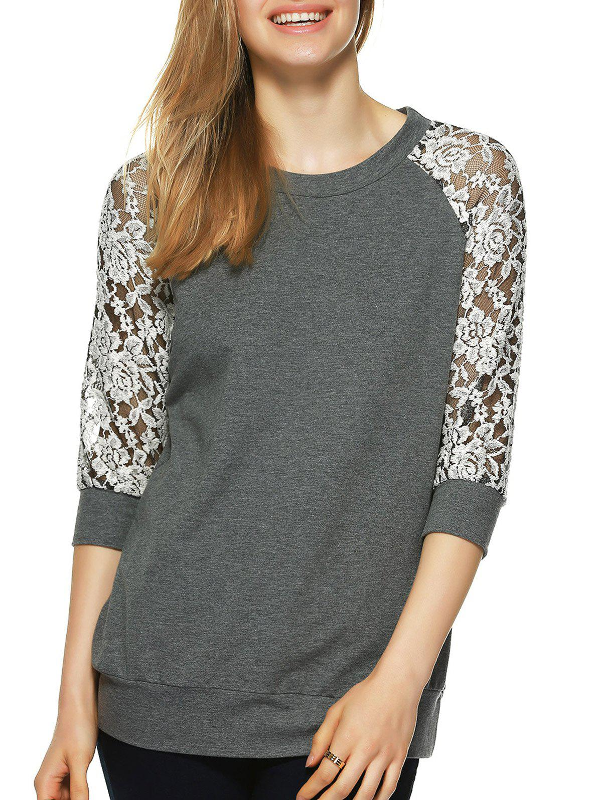 Round Neck Lace Splicing T-Shirt - GRAY M