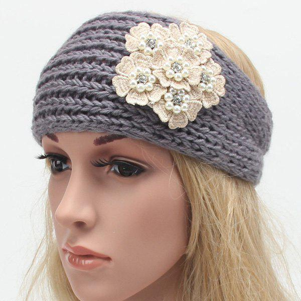 Winter Faux Pearl Rhinestone Small Flower Embroidery Knitted Headband - GRAY