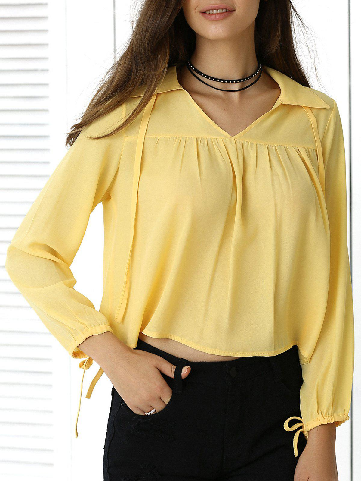 Freshing Pleated Pure Color Long Sleeve Cropped Shirt - YELLOW XL