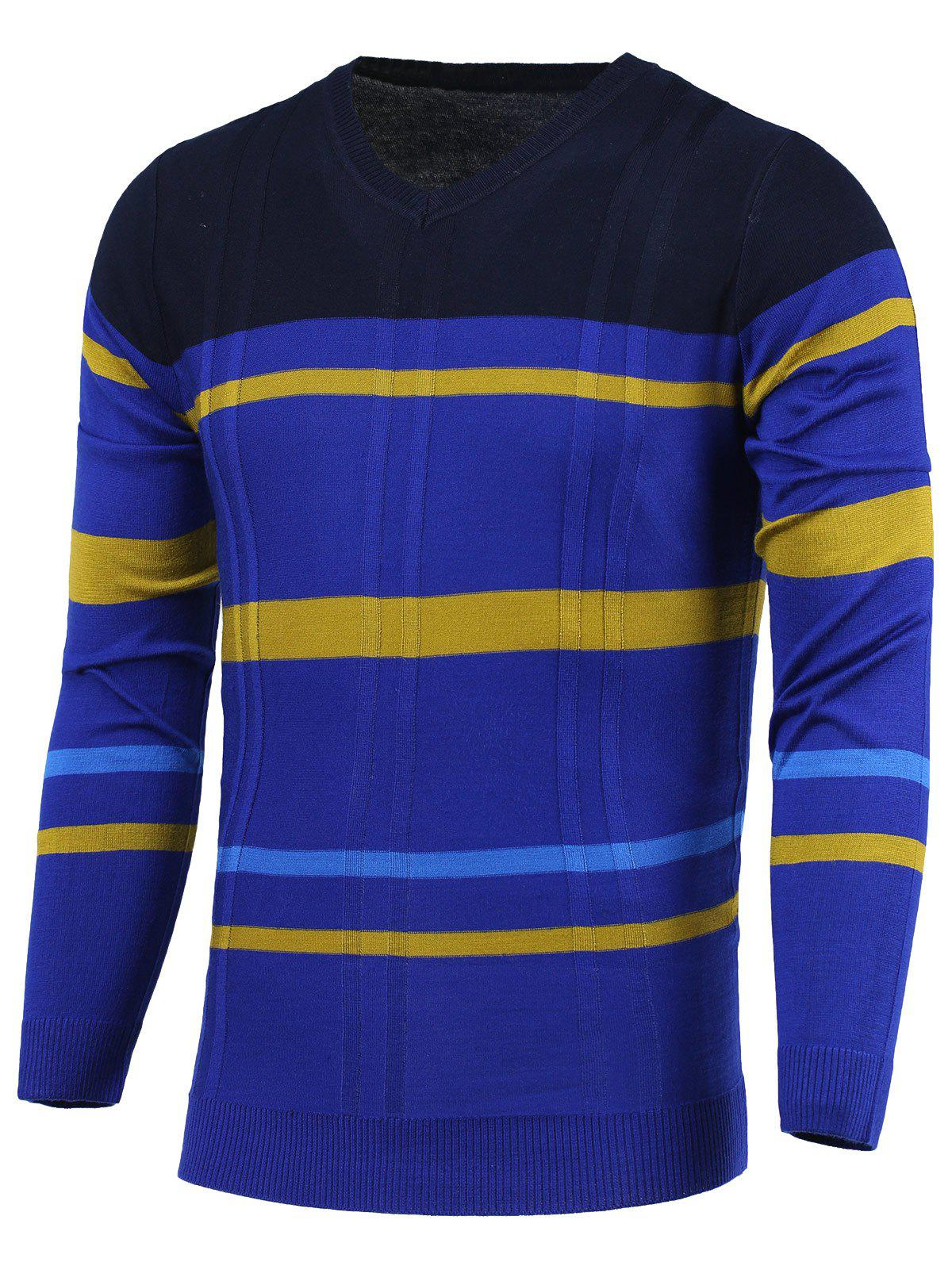 Stripe Color Block Splicing V-Neck Long Sleeve Sweater - BLUE 3XL