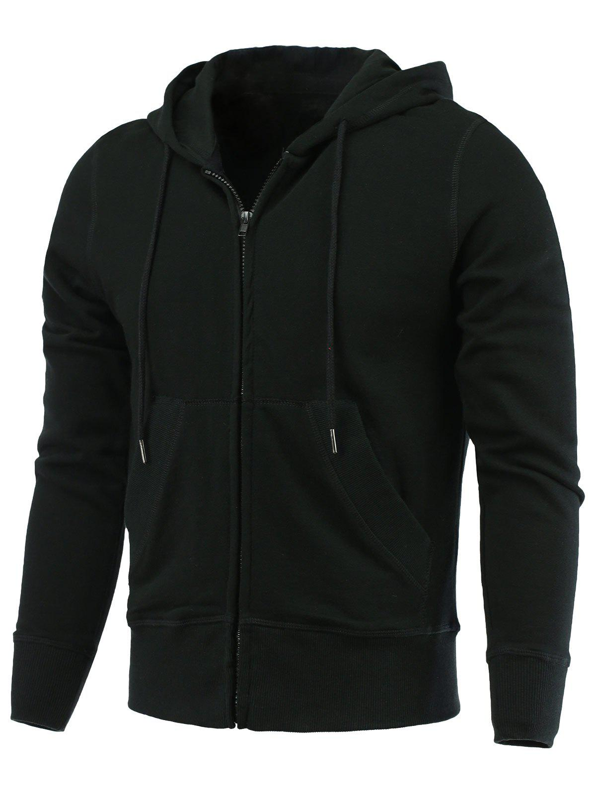Solide Long Couleur capuche ample Zip-Up Hoodie - Noir S