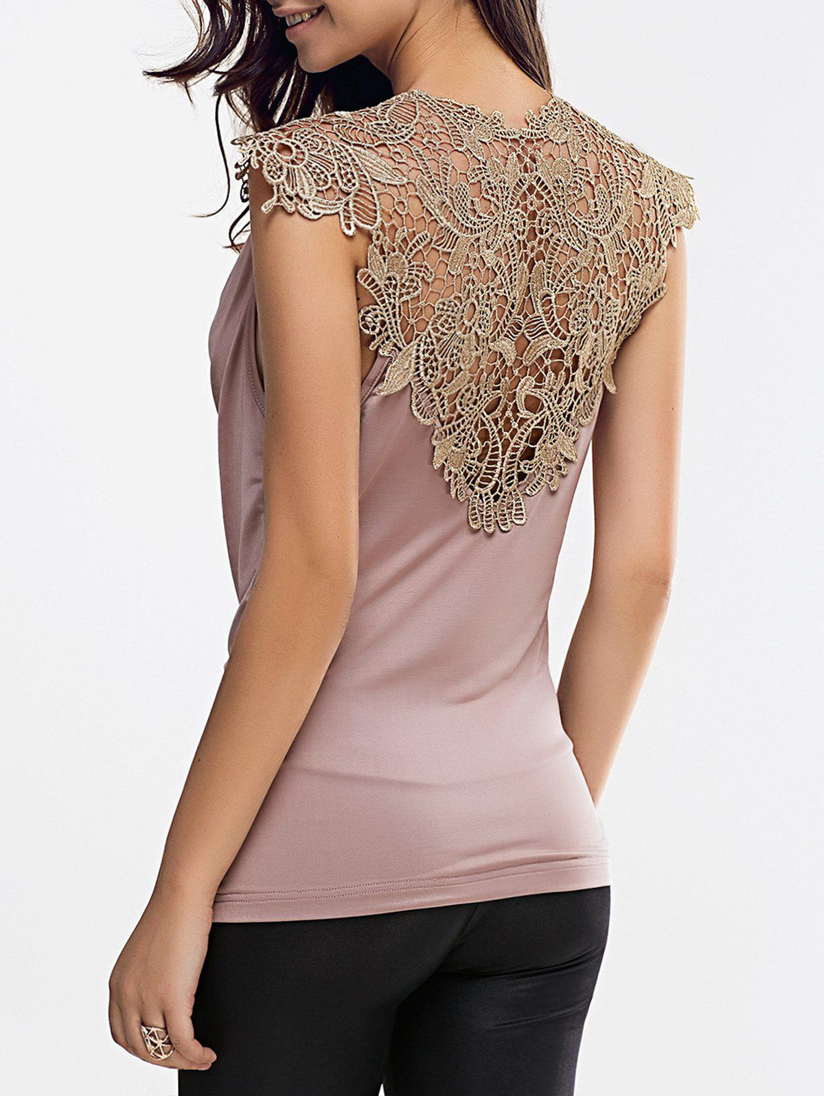 Lace Splicing Cowl Neck Sleeveless Blouse