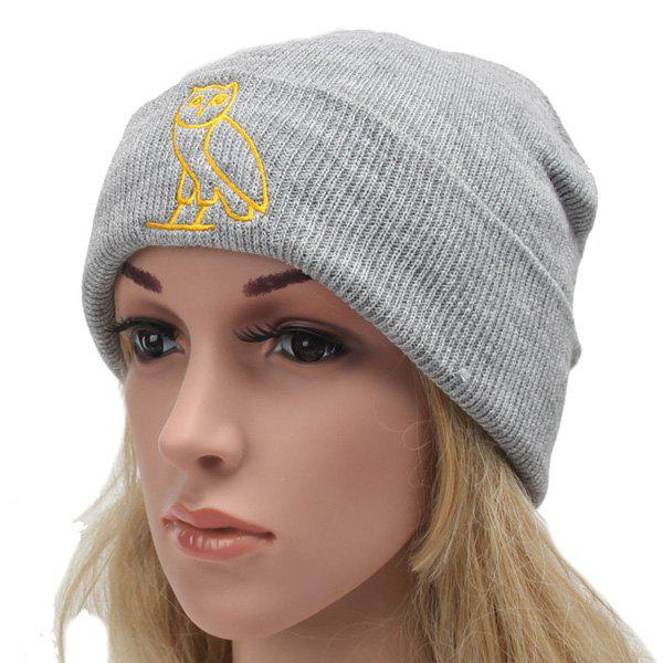 Winter Outdoor Warm Cartoon Owl Embroidery Flanging Knitted Beanie - LIGHT GRAY