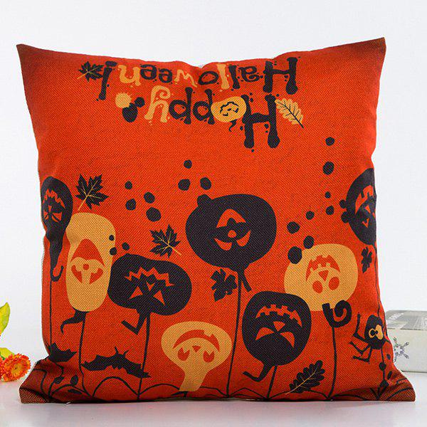 Chic Happy Halloween Pumpkin Face Pattern Pillow Case - BLACK/ORANGE