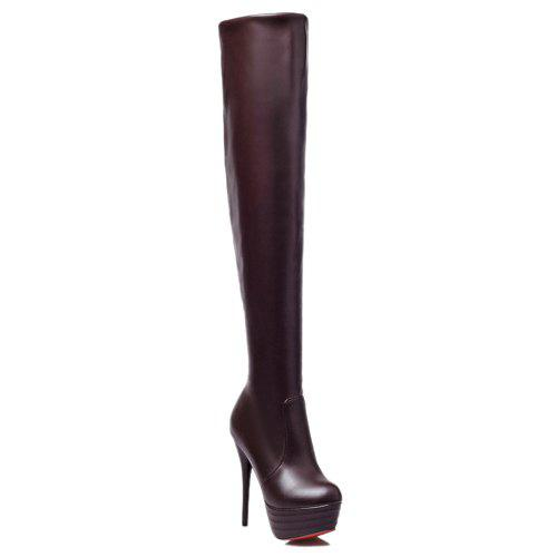Trendy Stiletto Heel and Platform Design Women's Thigh High Boots - BROWN 37