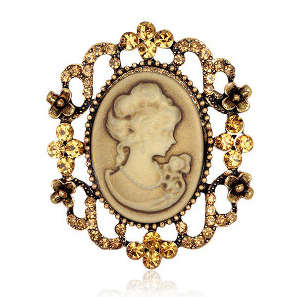 Charming Emboss Figure Floral Brooch For Women -  GOLDEN