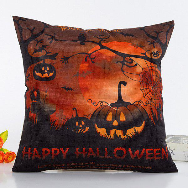 Fantastic Halloween Night Pumpkin Face Pattern Pillow Case - BLACK/ORANGE