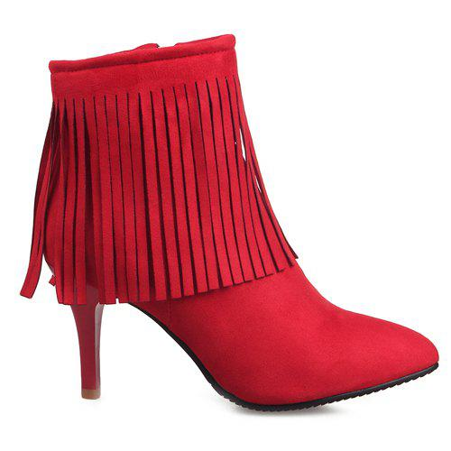 Stylish Fringe and Pointed Toe Design Women's Ankle Boots - 39 RED