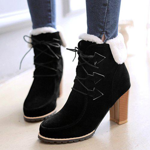 Trendy Tie Up and Suede Design Women's Short Boots - BLACK 36
