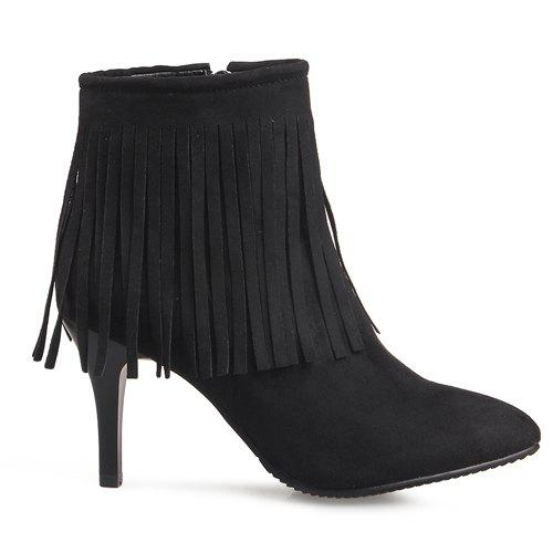 Stylish Fringe and Pointed Toe Design Women's Ankle Boots - BLACK 37