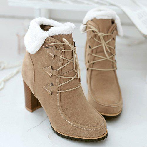 Trendy Tie Up and Suede Design Women's Short Boots - APRICOT 37