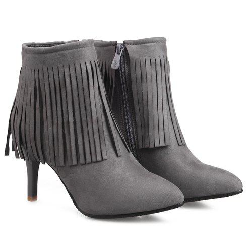 Stylish Fringe and Pointed Toe Design Women's Ankle Boots - GRAY 37