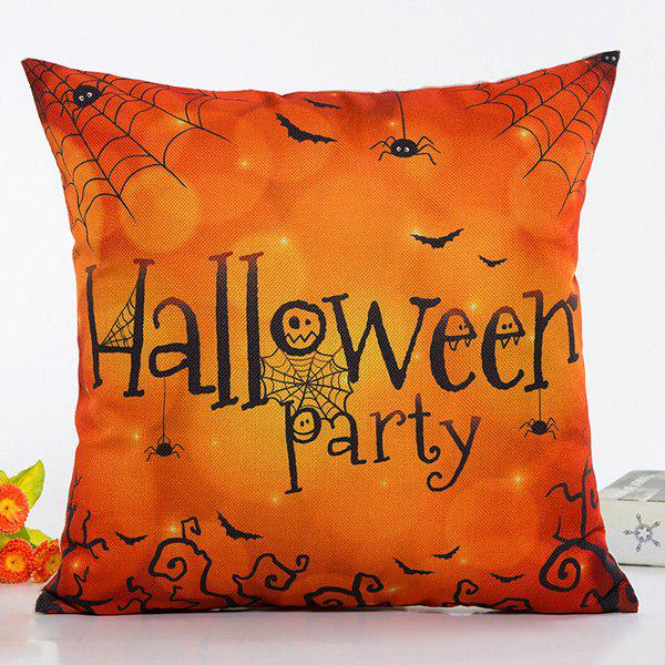 Hot Sale Halloween Party Spider Web Insect Design Pillow Case - BLACK/ORANGE