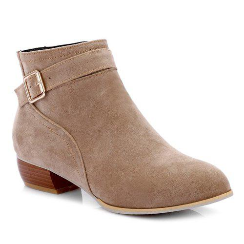 Stylish Buckle Strap and Zipper Design Women's Ankle Boots - APRICOT 37