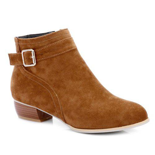 Stylish Buckle Strap and Zipper Design Women's Ankle Boots - BROWN 38