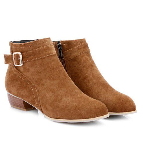 Stylish Buckle Strap and Zipper Design Women's Ankle Boots - BROWN 37