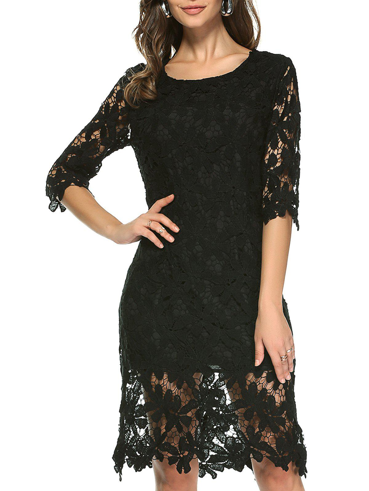 Ladylike Pure Color Laciness Dress For Women - BLACK XL