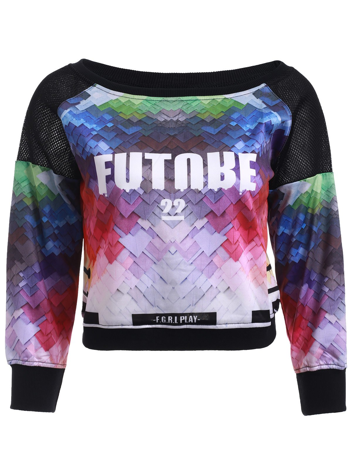 Stylish Rainbow Color 3 D Print Cropped Sweatshirt
