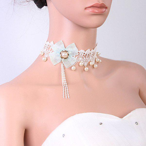 Retro Cut Out White Lace Faux Pearl Bowknot Choker For Women - WHITE