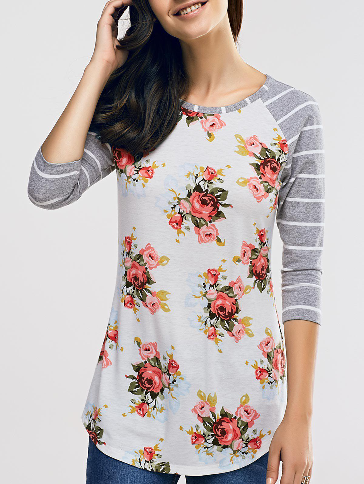 Raglan Sleeve Casual Floral and Striped T-Shirt - GREY/WHITE XL