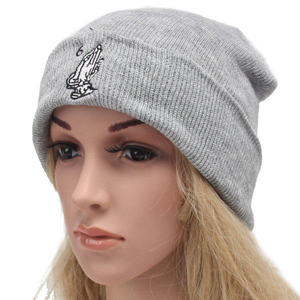 Winter Outdoor Warm Hands and Number 6 Embroidery Flanging Knitted Beanie -  LIGHT GRAY