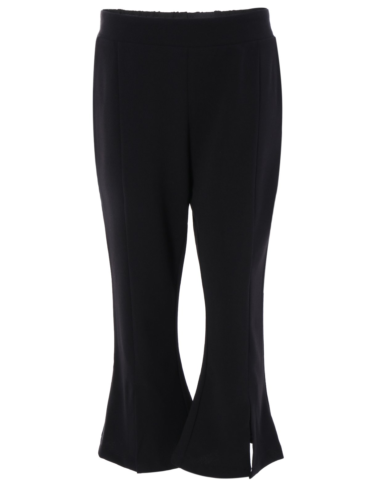 Simple Women's Black Side Slit Boot Cut Pants