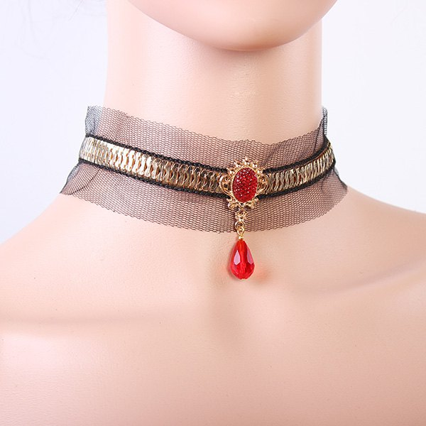 Punk Style Black Lace Faux Ruby Teardrop Choker Necklace For Women - BLACK