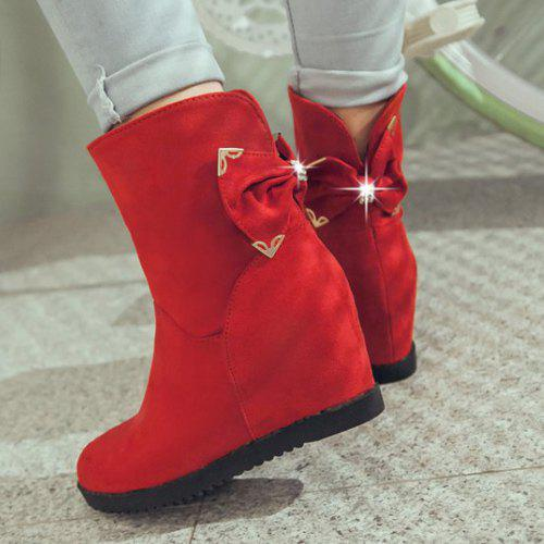 Stylish Bowknot and Increased Internal Design Women's Boots - RED 39