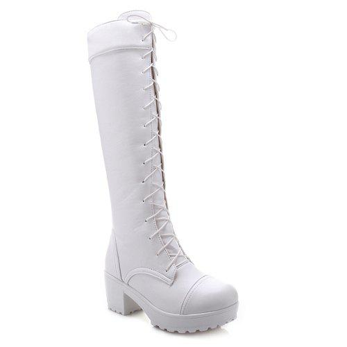 Trendy Front Lace-Up and Chunky Heel Design Women's Knee-High Boots - WHITE 40
