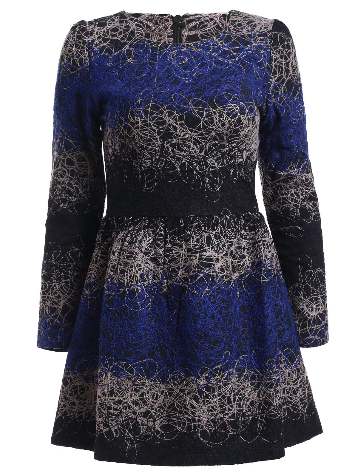 Elegant Abstract Color Block Print Woolen Thick Flare Dress - DEEP BLUE L