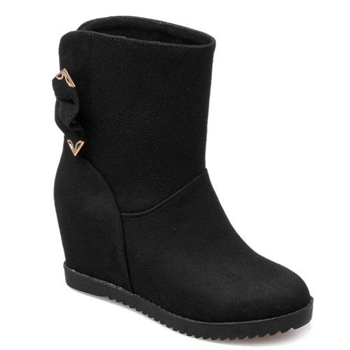 Stylish Bowknot and Increased Internal Design Women's Boots - BLACK 37