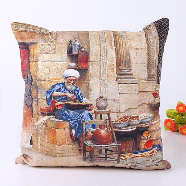 Retro Oil Painting Old Man's Daily Life Design Design Pillow Case