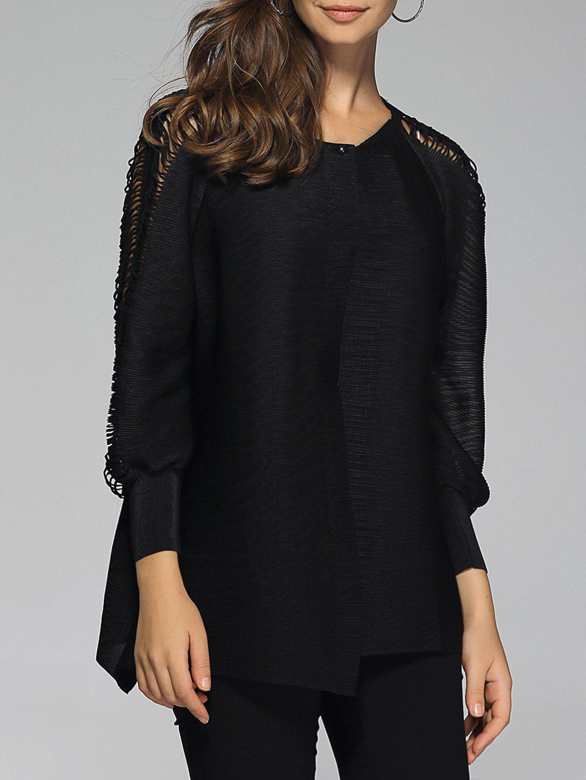 Stylish Pure Color Ripped Blouse For Women - BLACK ONE SIZE