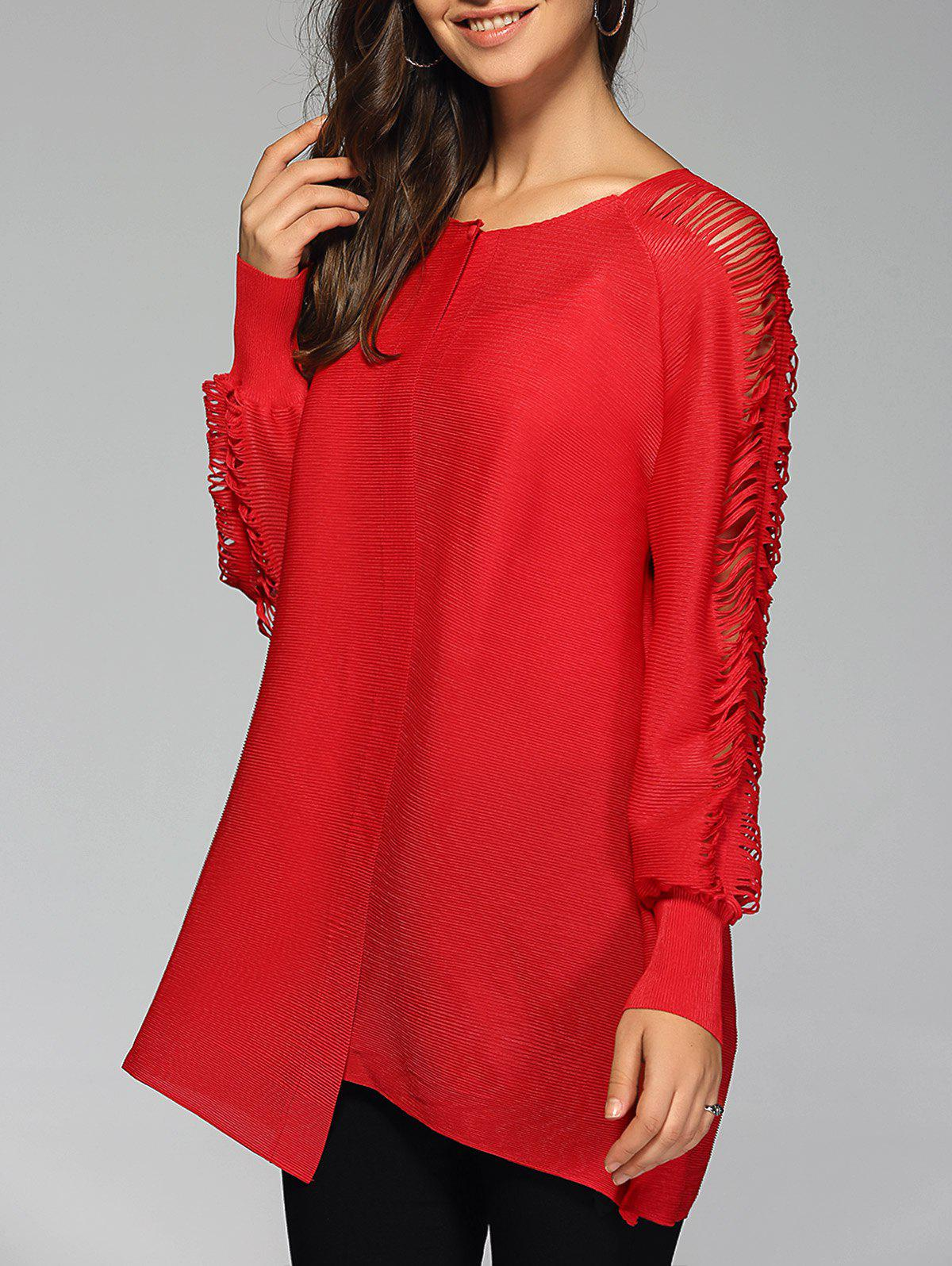 Stylish Pure Color Ripped Blouse For WomenWomen<br><br><br>Size: ONE SIZE<br>Color: RED