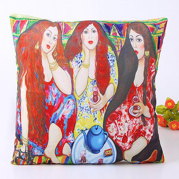 Vintage Oil Painting Three Long Hair Beauty Pattern Pillow Case