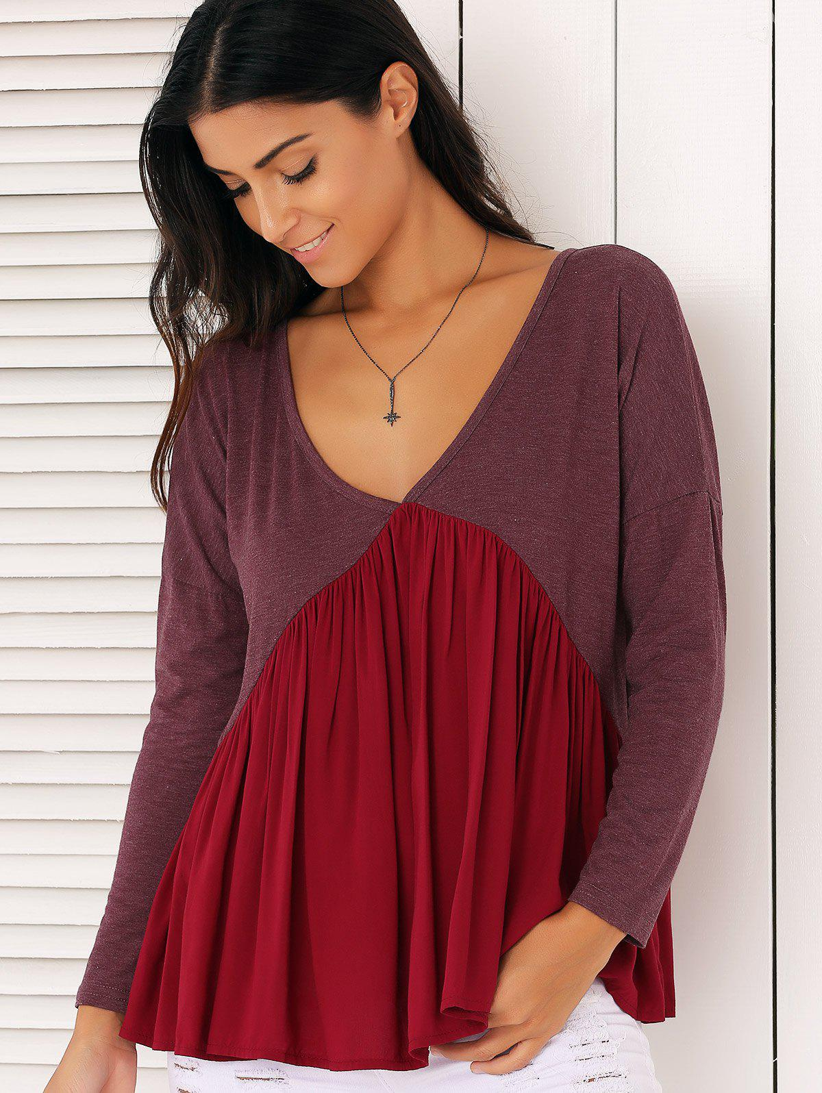 Sweet Long Sleeve Plunge Neck Pleated Asymmetric Swing Blouse - CLARET L