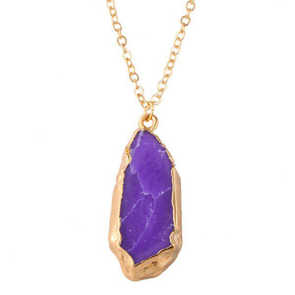 Natural Stone Pendant Necklace -  PURPLE