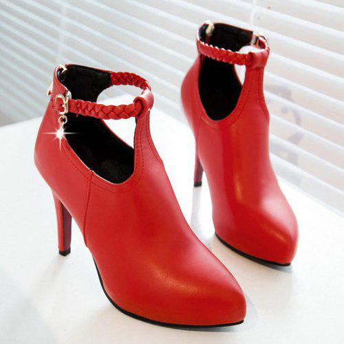 Chic Stiletto Heel and Weaving Design Women's Ankle Boots - 39 RED