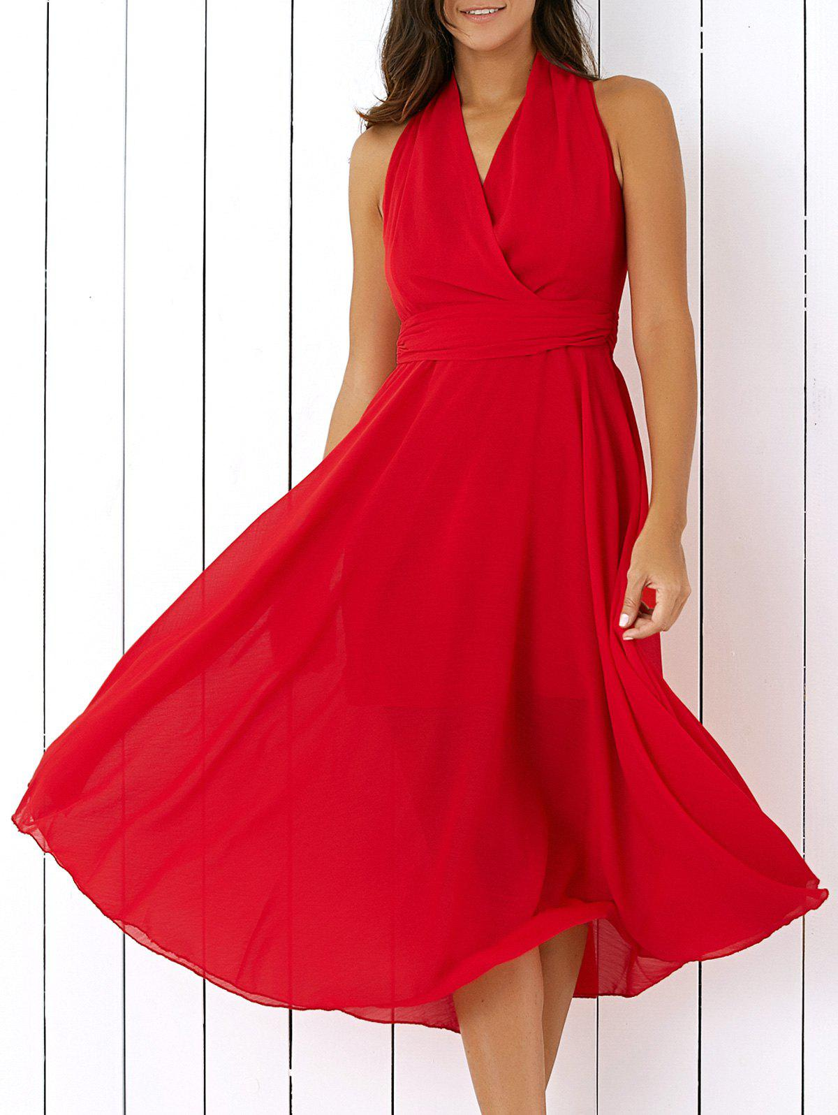 Graceful Pure Color Wrap Dress For Women - RED XL