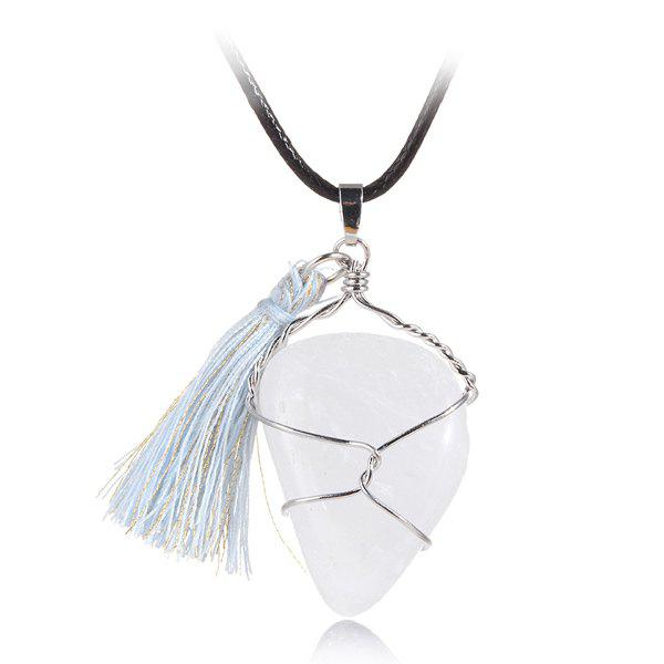 Graceful Natural Stone Tassel Necklace For Women - WHITE