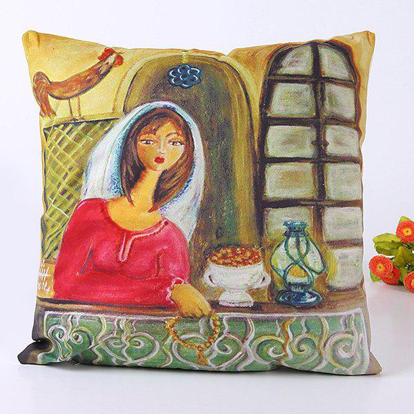 Chic Oil Painting Art Hostess At Home Pattern Pillow Case -  COLORMIX