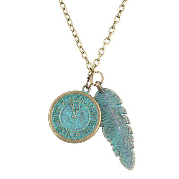 Dial Leaf Pendant Necklace - GREEN